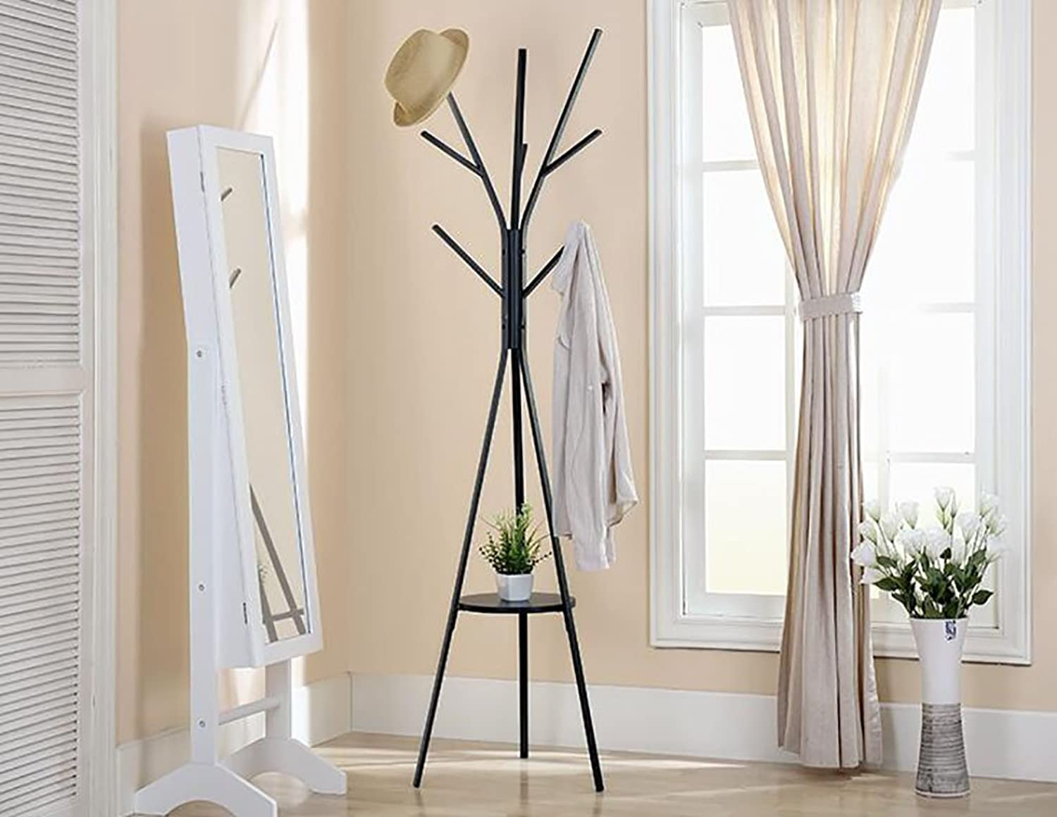 Coat Stand, Modern Floor Standing Hat and Coat Stand Clothes Rack Entryway Purse Display Hall Tree Metal Black (color   A)