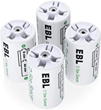 EBL D Size Battery Adapters, AA to D Size Battery Spacer Converter Case Use with Rechargeable AA Battery Cells - 4 Pack