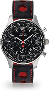 DETOMASO Firenze XXL Mens Watch Chronograph Analogue Quartz Black Racing Leather Strap Red Seam and Black Dial DT1045-A-836