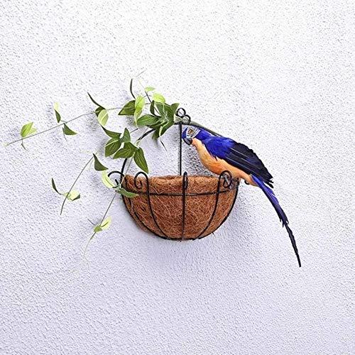 xiaobobo Modelo de simulación, 25/35 cm Loro de simulación Hecho a Mano Creativo Pluma Césped Adorno Estatuilla Animal Pájaro Jardín Decoración de Accesorios de Aves, Zafiro, 25 cm