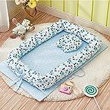 TEALP Babynest multifunktionales Kuschelnest für Babys Säuglinge Reisebett, 100% Baumwolle, lila Blumen(0-24 Monate)