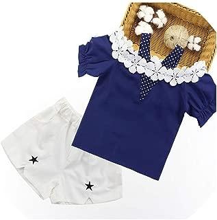 V-A-O-L Ropa de Verano para niñas con Camisa de Encaje + Pantalones Cortos, 2 Unidades