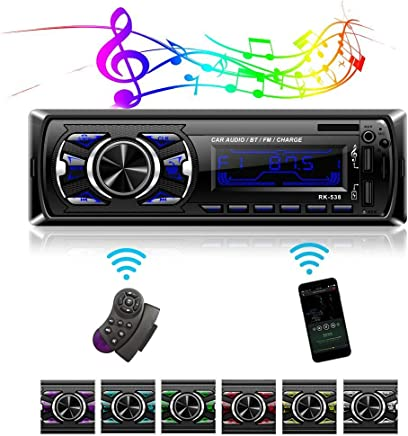 Single Din Car Stereo Receiver with Bluetooth Handsfree Calls,7 Colors Backlight/&LCD Player Multimedia Car Stereo for Car,Bluetooth//USB//SD//AUX//FM MP3 Player Wireless Remote Control Phone Charge Radio Receiver