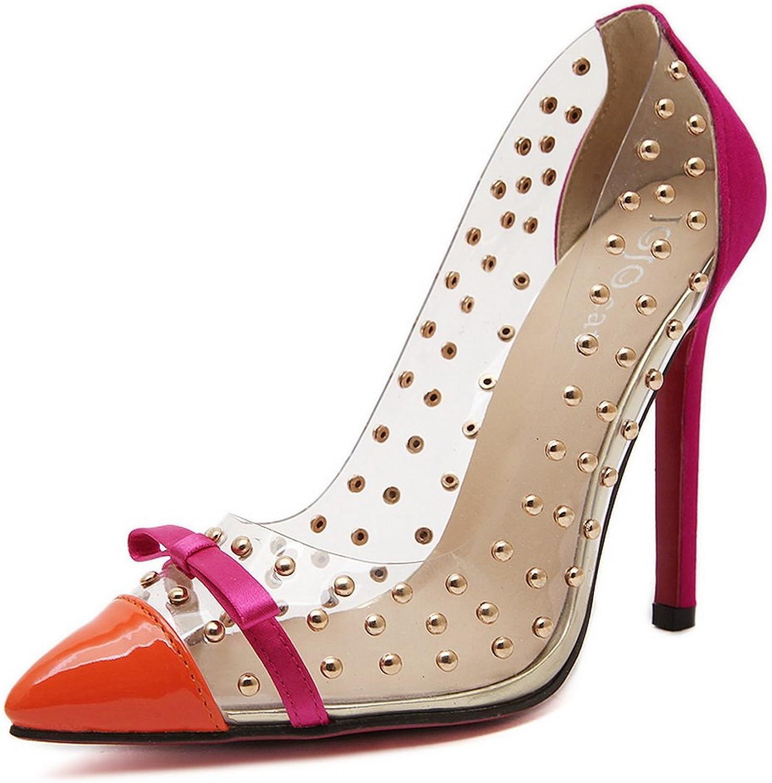 1TO9 Womens Spikes Stilettos Platform Peep-Toe Pink Urethane Pumps shoes - 4.5 B(M) US