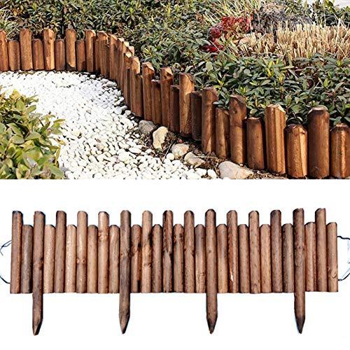 A/A Flexibler Beetzaun aus Holz | als Steckzaun Rollborder | Beeteinfassung | Kanteneinfassung |Rasenkante oder Palisade (10/15 * 120CM)