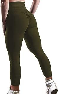 Women's High Waisted Bottom Scrunch Leggings Ruched Yoga Pants Push up Butt Lift Trousers Workout
