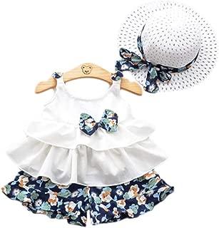 Trajes de Playa para niña con Lazo, Playera sin Mangas + Pantalones Cortos Florales + Sombrero de Pajita de día Festivo