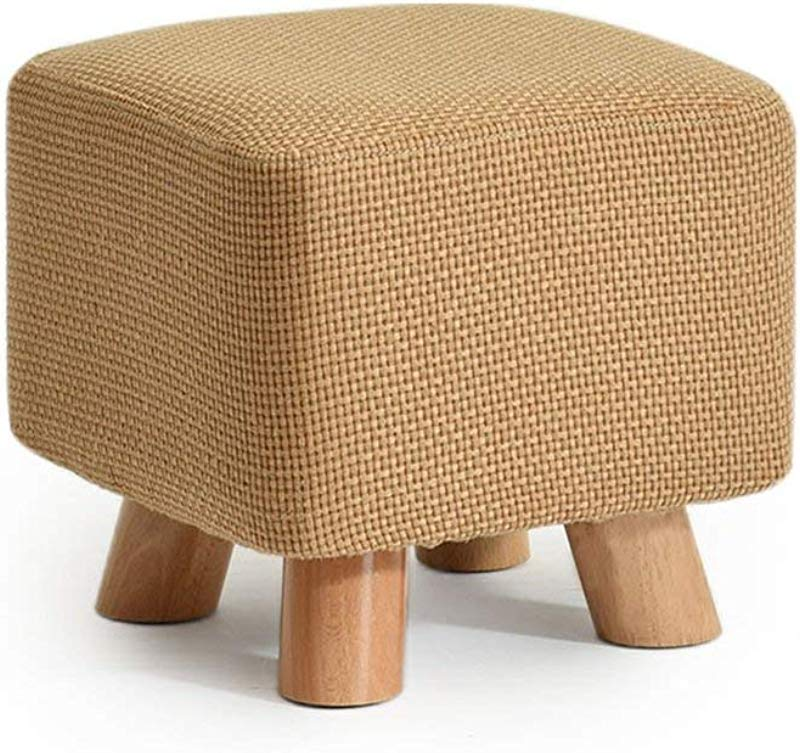 GJD Solid Wood Shoes Stool Square Upholstered Footstool Sofa Low Stool Footrest Small Seat Foot Rest Chair Solid Color For Hallway Color 2