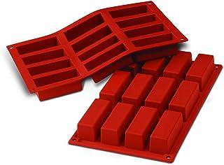 SF026 Molde de Silicona, 12 cavidades con Forma Rectangular, Color Terracota