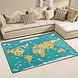 Use7 - Alfombra antideslizante para niños, diseño de mapa del mundo, 100 x 150 cm,...