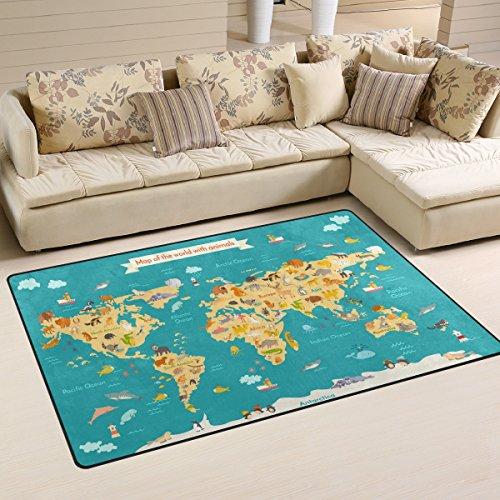 Use7 Tapis motif carte du monde pour enfants, paillasson pour décoration de la maison, chambre à coucher, salon, 50 x 80 cm