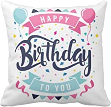 Yaya Cafe Happy Birthday Cushion Pillow Birthday Gifts Balloons Cotton Throw Cushion Cover - 20X20 inches, White
