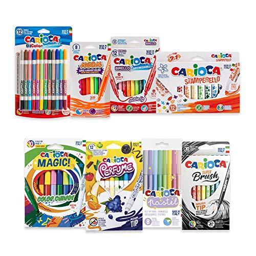 CARIOCA Crazy Felt Tips Set | Waschbare und Lustige Filzstifte, Stifte mit Feinen Spitzen und Marker mit Dicken Spitzen,, 74 Teile