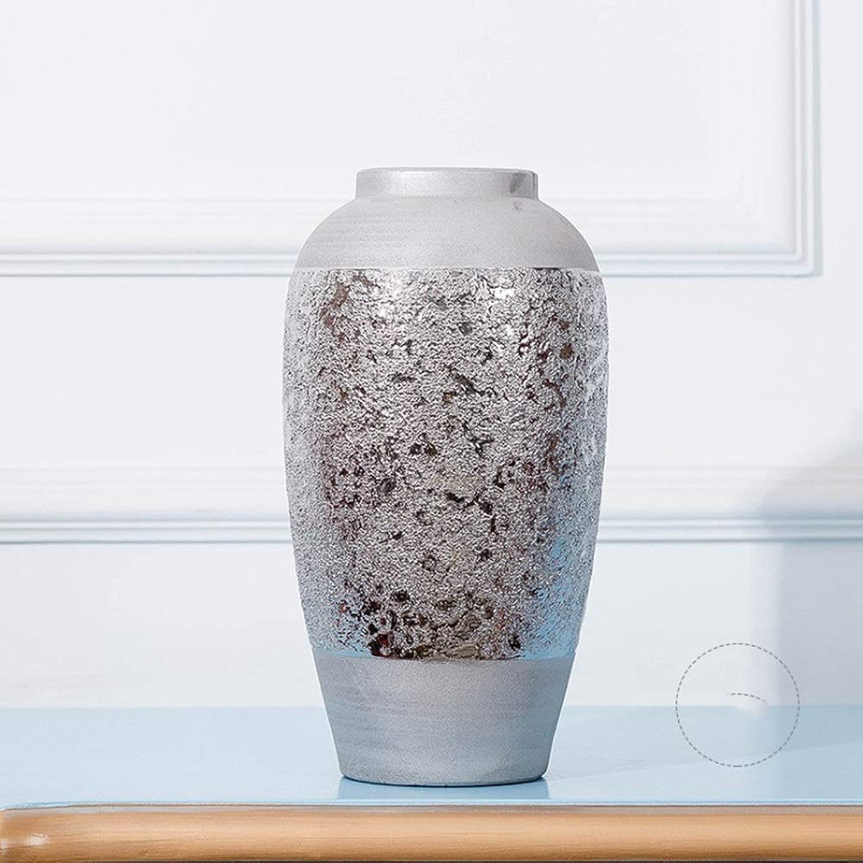 XHZJ Flocon De Neige Européen Argent Plaqué Vase en Céramique Salon Décoration De Table Illustration Céramique Fleur Rétro 3 Pièce Bureau Intérieur Balcon Décoration Décoration (Couleur   Medium Taille)