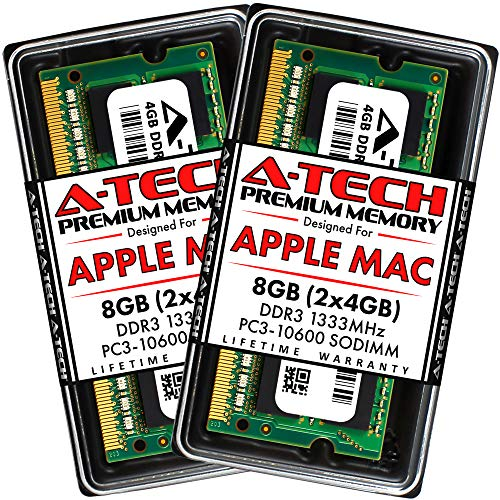 A-Tech 8GB Kit (2x4GB) DDR3 1333MHz RAM for Apple MacBook Pro (Early/Late 2011), iMac (Mid 2010, Mid/Late 2011), Mac Mini (Mid 2011) | PC3-10600 SO-DIMM 204-Pin Memory Upgrade Kit