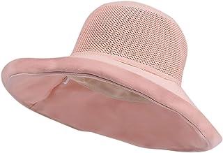DOLDOA Hut Damen Sommer,Damen-Frauen-beiläufiger Fester breiter geströmter Diskette Faltbarer Strand-Hut