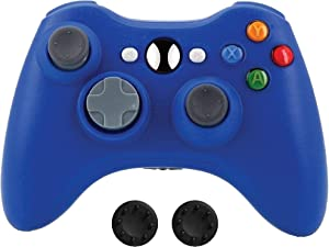 BEK Controller Replacement for Xbox 360 Controller, Wireless Remote Gamepad Non-Slip Joystick Thumb Grips Double Shock Live Play Compatible with Microsoft Xbox 360 Slim PC Windows 10 8 7 Color (Blue)