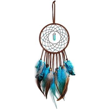 Dsaren Traumfänger Handgefertigt, Feder Dreamcatcher Wandbehang Ornament für Baby Shower Car Hochzeit Home Decor Geschenk (Blau)