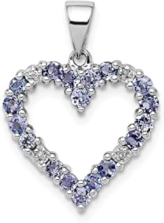 925 Sterling Silver Blue Tanzanite Diamond Pendant Charm Necklace Gemstone Fine Jewelry For Women