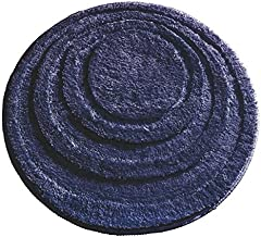 "InterDesign Microfiber Round Bathroom Shower Accent Rug, 24""""- Navy Blue"