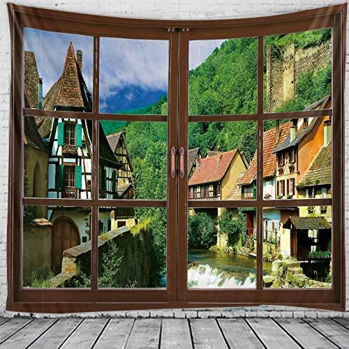 KHKJ Tapiz de decoración de Paisaje de Ventana 3D Tapiz de Estilo de Pared Hippie Tapiz de decoración de Dormitorio Tapiz de Pared de Dormitorio A3 200x180cm
