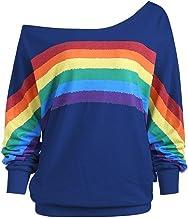 Longra☀☀☀☀☀☀☀ 2018 Las Mujeres Ocasionales Flojas de Manga Larga de impresión del Arco Iris Pullover Blusa Camisas Sudadera Camisetas para Mujer Camiseta para Mujer