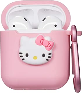 Logee Kitty Hello Cat Case for Airpods 1& 2 Charging Case,Cute Silicone 3D Cartoon Airpod Cover,Soft Protective Accessories Kits Skin with Carabiner,Character Cases for Kids Teens Girls(Air pods)