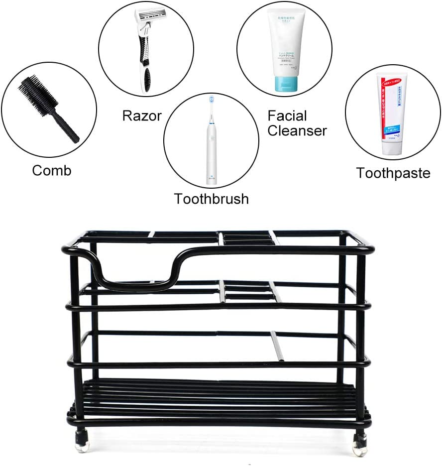 Shebaking Toothbrush Holder Stand for Bathroom 5 Slots Toothbrush Organizer Toothpaste Holder with Rust-Proof Stainless Steel Material Black