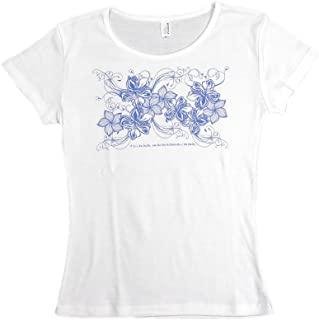 (ムームーママ) MuuMuuMama 速乾フライスTシャツ ハイビスカス&プルメリア 白×青