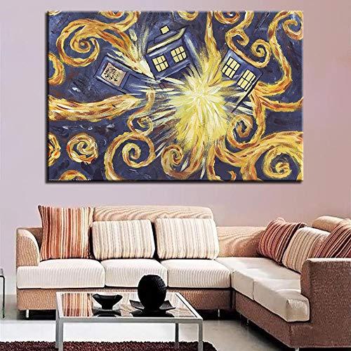 Knncch Doctor Who Explodierende Tardis Wandbilder Für Wohnzimmer Moderne Dekoration Poster Nordischen Stil Minimalistischen Leinwand Kunst Hd-druck Malerei-50x70cm