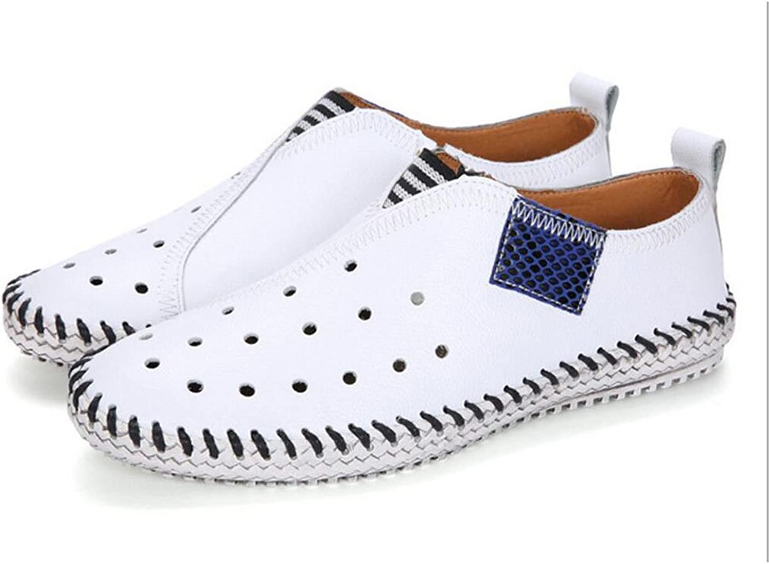 QSYUAN Men's New Fashion Wild Casual Flat shoes & Comfortable Wear-Resistant Cushioning Decompression Breathable Lazy shoes & Driving & Dating Loafers&Slip-Ons,White,42