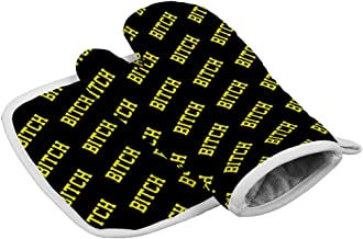 HARAJUKU STYLE Funny Yellow Bitch Black Oven Mitts of Quilted Cotton Lining - Heat Resistant Kitchen Gloves, BBQ Cooking Oven Mitt