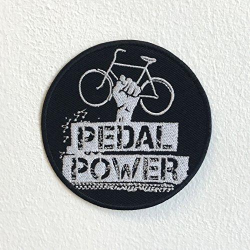 Pedal Power Fahrrad Badge Schwarz Eisen nähen auf bestickt Patch