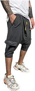 Hombre Pantalones Harem - Pantalones Cortos 3/4 Cómoda Cintura Elástica Pantalones con Cintura Moda Color Sólido Sueltas C...