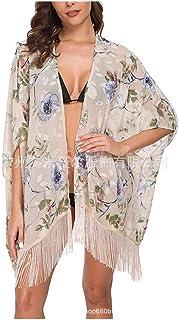 MogogN Womens Beach Bikini Cover up Open Front Boho Cardigan