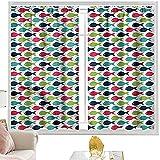 Cortinas para dormitorio, acuario, colorido tema de la vida marina W42 x L63 pulgadas cortinas de bolsillo para dormitorio