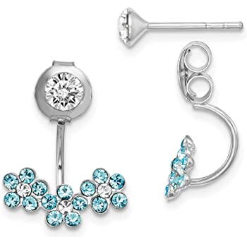 Sterling Silver Front Back 2 in 1 Cubic Zirconia Cluster Earring and Ear Jacket Cuff Set Unique Royal URJ-EREWR-02-A