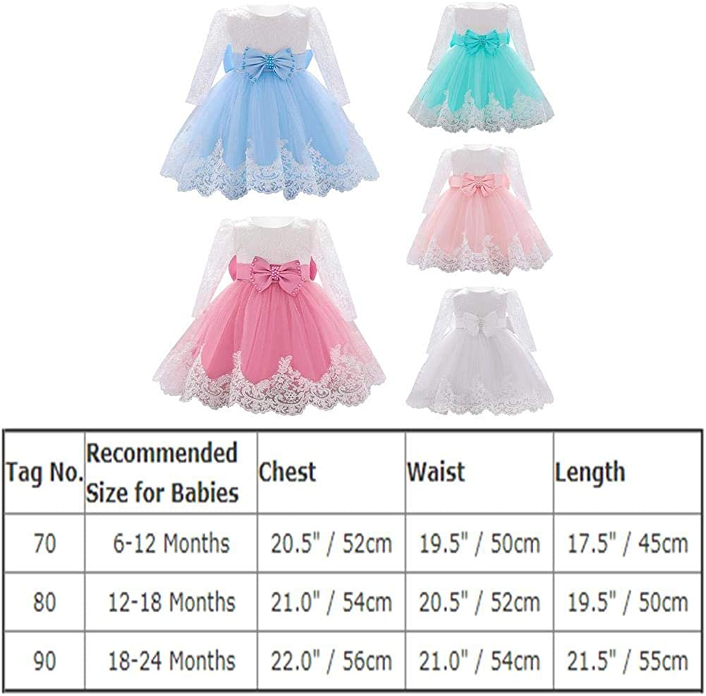 FYMNSI Baby Girl Dress Birthday Party Dress Christening Dress Toddler Bowknot Flowers Lace Tulle Dress Tutu Princess Wedding Bridesmaid Party Dress with Headband Outfit Baby Clothing