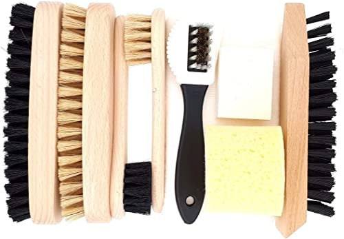 DELARA Ensemble de cirage pour chaussures 9 pièces avec brosses en bois et poils naturels – fabriqué en Allemagne