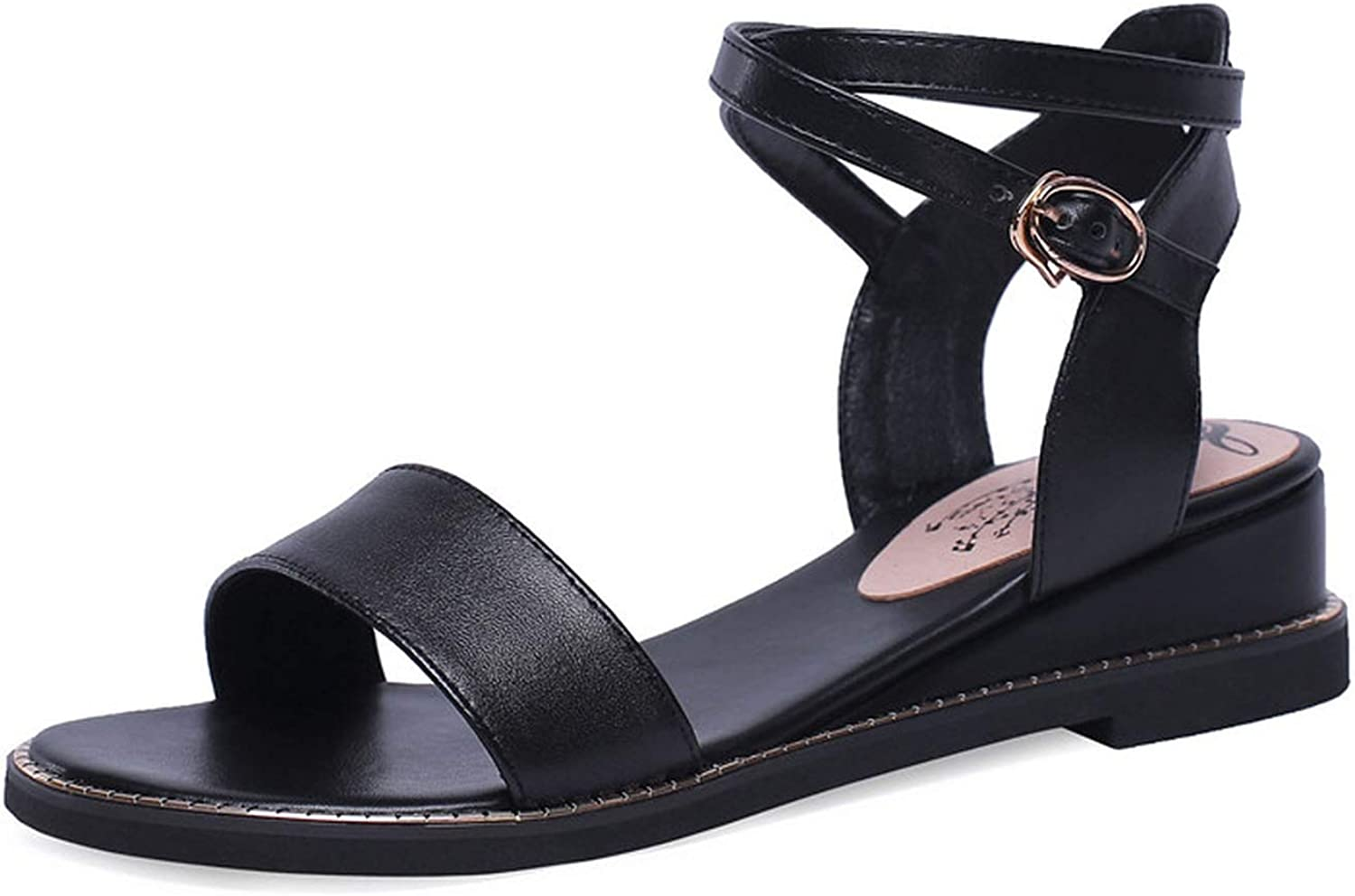 Big Size 43 Sandals Women Cow Leather shoes Simple Solid Summer shoes Woman Casual shoes Black,Black,9