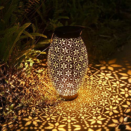 Görvitor Solarlaterne für Außen, Metall Solar Laterne Hängend, IP65 Wasserdicht LED Dekorative Solarlampen für Patio Balkon Garten