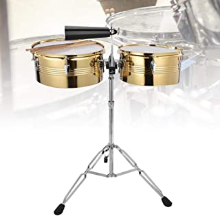 Nannday Timbale Drum Set, 1Pc Big Timbale Drum + 1Pc Small Timbale Drum with Cowbell Bracket Instrumento Musical(Dorado)