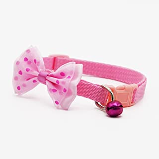 1 Pack Adjustable Polyester Bowknot Pet Collar Little Dog Cat Bells Necklace Soft Elastic Bow Bell Tag Flower Defectless Popular Small Wide Reflective Safety Breakaway Training Kitten Collars