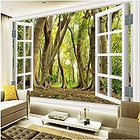 Xbwy 装飾壁画壁紙ウィンドウ緑の森の風景壁紙リビングルームの背景壁の装飾壁画-150X120Cm