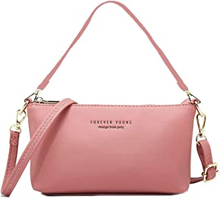 Travel Messenger Bags Crossbody Sling Bag Leather Shoulder Bags Roomy Handbag 2 Straps Casual Hiking Outdoors Warm Pink