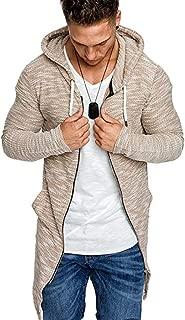Beautyfine Men's Stitching Hooded Blouse Cardigan Sweatshirts Long Sleeve Trench Coat Outwear
