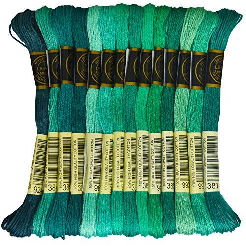 Premium Rainbow Color Embroidery Floss - Cross Stitch Threads - Friendship Bracelets Floss - Crafts Floss - 14 Skeins Per Pack Embroidery Floss, Aquamarine Gradient