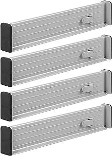 mDesign organisateur de tiroir (lot de 4) – séparateur de tiroir réglable en plastique – range couverts pour tiroir de cui...
