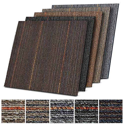 Teppichfliesen Berlin | selbstliegend | Strapazierfähig und pflegeleicht | Bodenbelag für Büro und zu Hause | 50x50 cm | rutschfeste Rückseite | Streifen-Optik (Braun K3)