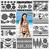 Konsait Falsos joyas Tatuaje temporal impermeable Arte Corporal Tatuajes Adhesivos Tatoos negro brazo cuello para mujeres Niños niñas, Mandala Boho diseños (10 hojas)